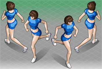Isometric Fitness Running Woman in Two Positions