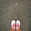 canvas print picture - sport white and red shoes and a pink flower