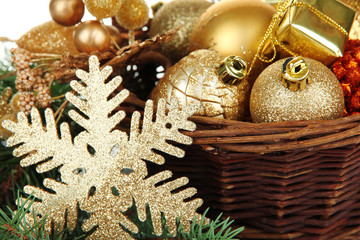 Christmas decorations in basket close up