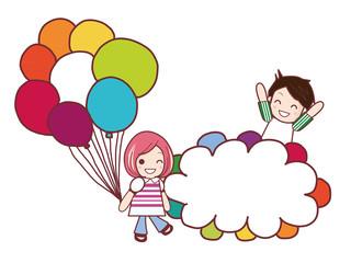 女の子と男の子のイラスト/お祝い