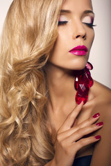 portrait of sexy glamour woman with blond hair