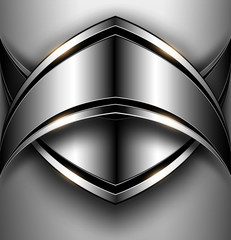 3D Background, shield with polished metal