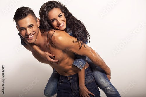 canvas print picture sexy beautiful couple in jeans