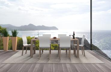 Modernes Interior mit Blick auf des Meer