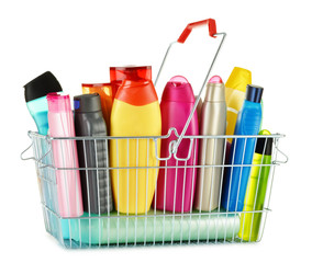 Wire shopping basket with body care and beauty products