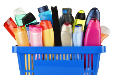 Plastic shopping basket with body care and beauty products