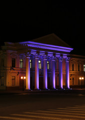 Theater building at night