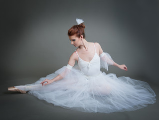ballerina on a grey background