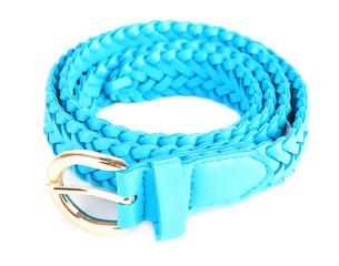 Blue leather belt, isolated on white