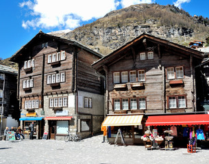 View of Zermatt house, with a mountains, Switzerland.