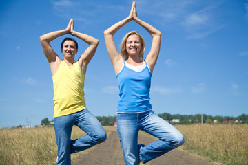 Couple elderly people doing yoga outdoors