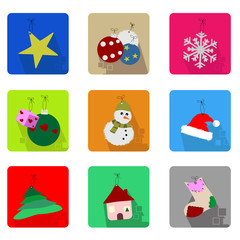Christmas icons set with objects typical of the party - colored