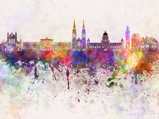 Belfast skyline in watercolor background