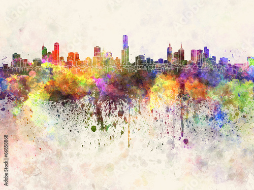 Fotobehang Australië Melbourne skyline in watercolor background