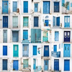 Collage griechischer Holz Türen: blau, türkis, grün
