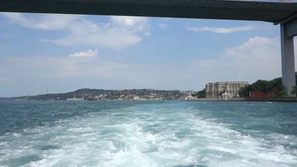 Passing under the Bosphorus Bridge in Istanbul Turkey