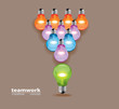 Vector Colorful Bulbs. team work design