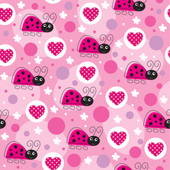 love pink ladybird pattern vector illustration
