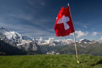 Schweizer Bergwelt mit Fahne