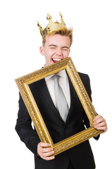 Man with picture frame isolated on the white