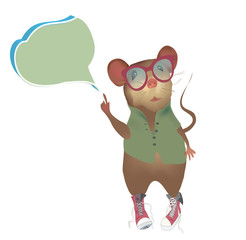 Vector Illustration of a Mouse with speaking or think bubble