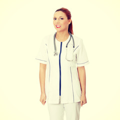 Smiling medical doctor or nurse.