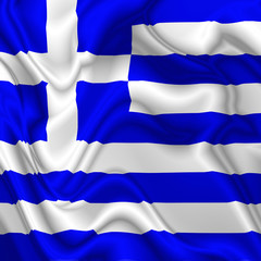 Greece waving silk Flag