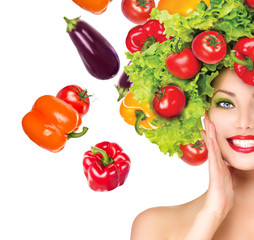 Beauty girl with vegetables hairstyle. Dieting concept