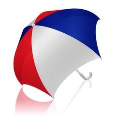 Schirm in den Farben der französischen Flagge