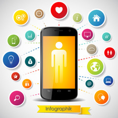 Infographics elements with touch screen smartphone and icons