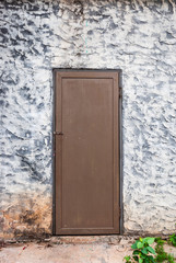 Rough Concrete Wall with Wood Door