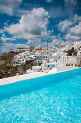 Swimming pool in Santorini