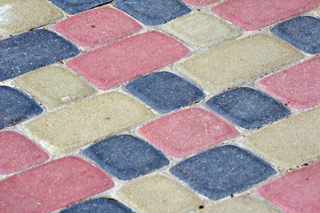 Colour bricks on a path for a background