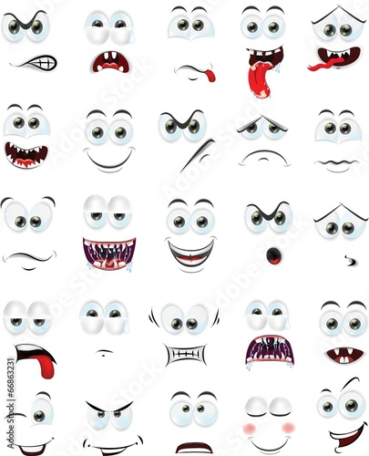 canvas print picture Мультфильм лица с эмоциями