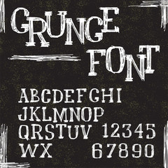 Grunge alphabet letters and numbers. Vector