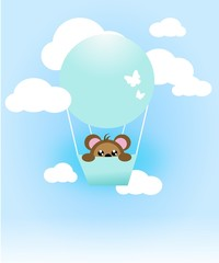 Blue flying ballon on sky with cute animal
