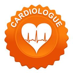 cardiologue sur bouton web denté orange
