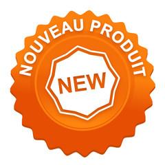 nouveau produit sur bouton web denté orange