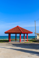 Red gazebo at Payoon beach