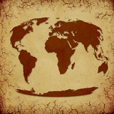 Vintage World Map on Cracked Grunge Background poster