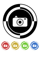 Camera button mosaic retro colors