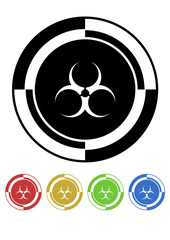 Biohazard button mosaic retro colors