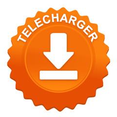 télécharger sur bouton web denté orange
