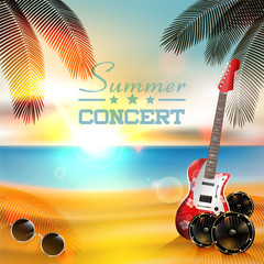 Summer Music background with instruments