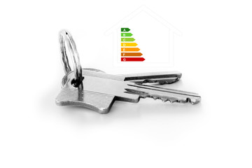Door keys, house with energy efficiency rating
