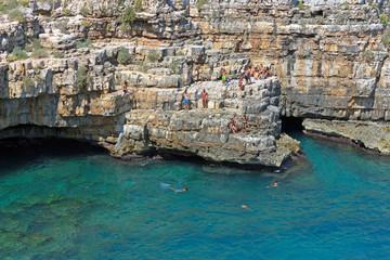 Italy, Apulia, Polignano a Mare, the beach.