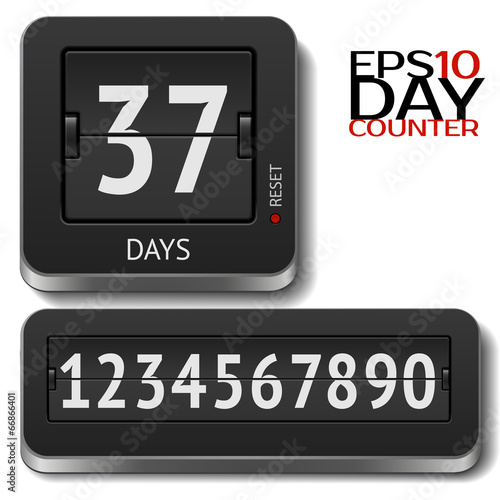 Analog flip day counter on white - 66866401