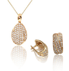 Best jewelry pendant and earrings set. Jewelry composition. Symb