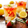 strawberry lemonade with mint garnish