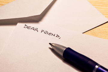Incipit of a letter to a friend